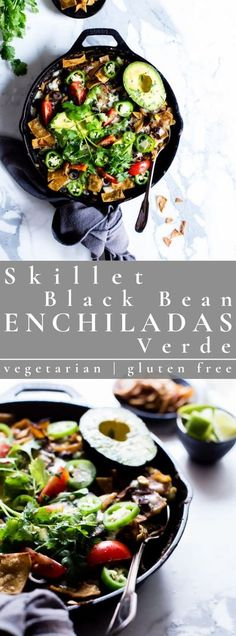 Weeknight Skillet Black Bean Vegetarian Enchiladas Verde are packed with late summer veggies, flavor, texture and a bit of pepper jack cheese. Cooking in one pan makes clean-up a snap! This recipe is vegetarian and gluten free. #enchiladas #beanenchiladas #dinner #vegetarian #vegetarianenchiladas | vanillaandbean.com @vanillaandbean Vegetarian Enchiladas, Bean Enchiladas, Gluten Free Vegetarian Recipes, World's Best Food, Healty Dinner, Delicious Dinner Recipes, Late Summer, Clean Eating Recipes, Skillet
