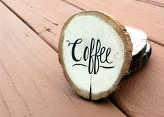 1 Coffee Wood Coaster Natural Wood Coaster by TheKarensKreations