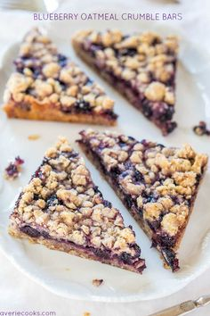 Blueberry Oatmeal Crumble Bars - Fast, easy, no-mixer bars great for breakfast, snacks, or a healthy dessert! BIG crumbles are irresistible!