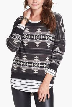 Fall style tip: Mix prints as you layer. Start with mixing a stripe tee & a geometric sweatshirt