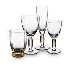 crystal glassware with #amber stems | New Cottage stemware
