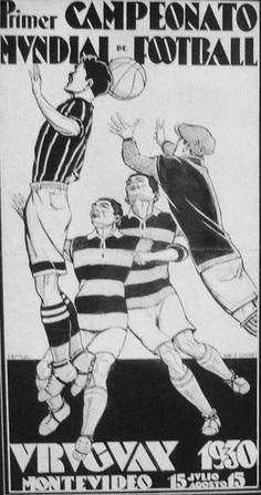 World Cup 1930 - Uruguay - poster Football Design, Retro Football, Football Art, Montevideo, Yoga Fitness, Association Football, Vintage Graphic Design, Football Pictures, Advertising Poster
