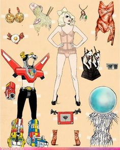 The Lady Gaga dress up kits - here is the first set hot off the presses.    In case you were wondering what you're looking at, here's what you get: Cup O'Noodles wig & hat, Vulv A Sketch Belt, Moment of Conception Unitard & Helmet, and much more.    By Scott Brown and Anthony King for GQ Magazine