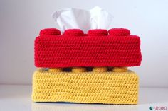 How to crochet a Lego brick tissue box cover [tutorial]