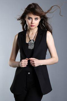 139-SATEEN 198-15602 ASTARLI UZUN YELEK #fashion #moda #style #sateencom www.sateen.com.tr