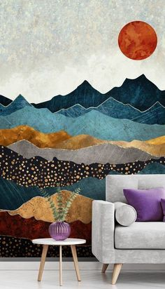 Stunning Amber Dusk wall mural by SpaceFrog Designs. This high quality Amber Dus. Angelina Banar Angelinabanar Art Stunning Amber Dusk wall mural by SpaceFrog Designs. This high quality Amber Dusk wallpaper is custom made to your dimensions. Diy Wand, Inspiration Wand, Bedroom Inspiration, Design Inspiration, Mur Diy, Small Room Design, Mural Art, New Wall, Bedroom Wall