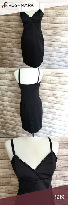 """WHITE HOUSE BLACK MARKET Fitted COCKTAIL Dress 4 🔺Form fitting with darting in front and back🔺Hidden side zipper closure🔺Ruffled edges along the front and rear neckline🔺Spaghetti straps🔺8"""" rear slit🔺Length 37""""🔺Chest 15"""" across🔺Waist 28""""🔺Hips 38"""" White House Black Market Dresses Mini"""