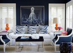 Navy Blue Living Room Chairs - Design photos, ideas and inspiration. Amazing gallery of interior design and decorating ideas of Navy Blue Living Room Chairs in living rooms, dining rooms by elite interior designers. Blue And White Living Room, Blue Living Room Decor, My Living Room, Living Room Chairs, Living Room Interior, Living Room Furniture, Living Room Designs, White Rooms, Cottage Living