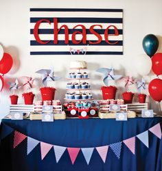 Nautical Birthday {Pinwheels & Whales} // Hostess with the Mostess®  Nautical navy blue and red party ideas