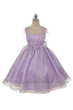 Flower Girl Dress Style Lilac Organza Cap Sleeve Dress with Rhinestone  Accent - Purple - Flower Girl Dress For Less af0d467b15dd