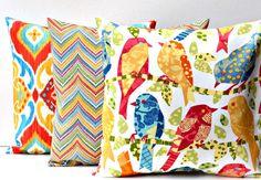 Set of 3 Decorative OUTDOOR Throw Pillow Covers - Fiesta Garden, Rozelle Garden, Ash Hill Garden - Birds Zig Zag Chevron - Richloom Solarium on Etsy, $41.85