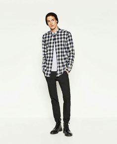 Black and white flanel shirt..