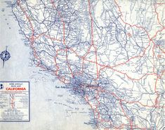 U.S. numbered highways appear prominently in this 1940 Rand McNally road map of California. Courtesy of the Map Collection - Los Angeles Public Library.
