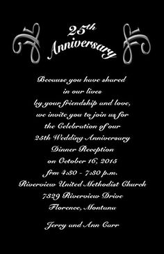 25th Wedding Anniversary Invitations Wording | Classic%20Black%20Silver%20Jubilee%2025th%20Anniversary%20Invitations ...