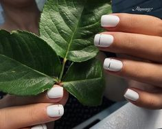 White nails with a silver lining.