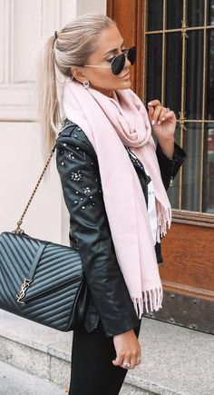 winter outfit idea : blush scarf leather jacket bag skinnies