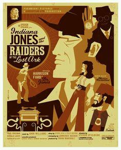 Indiana Jones - Raiders of the Lost Ark - Art Deco Poster Poster Art, Art Deco Posters, Cool Posters, Vintage Posters, Film Posters, Custom Posters, Travel Posters, Tom Whalen, Indiana Jones