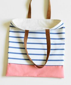The Nautical Tote Peach. Blue and White Stripes