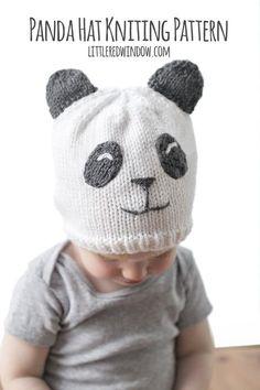 Sweet Panda Hat Knitting Pattern for newborns, babies and toddlers!   littleredwindow.com