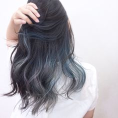 Match dark gray to the pale tone inner color - New Hair Cut Hair Streaks, Hair Highlights, Peekaboo Hair, Ulzzang Hair, Coloured Hair, Cool Hair Color, Hair Day, Balayage Hair, Dyed Hair