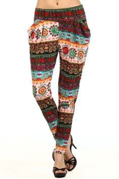 Early Mother's Day sale.....Gorgeous TRIBAL Print Harem pants ...  small / medium  or medium / Large ... fabulous fit, $14.99