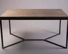 Industrial Dining Table Pipe Leg Table Reclaimed di AtelierEben