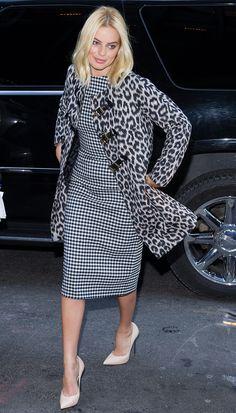 Wearing a Paule Ka coat over an Oscar de la Renta dress with Casedei pumps at the Wolf of Wall Street New York premiere luncheon.   - ELLE.com