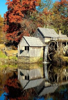 Mid day reflections of an old water mill.