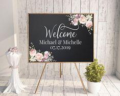 Large chalkboard, chalk wedding sign, blackboard sign, wedding chalk board, chalkboard backdrop, floral chalkboard, wedding entrance,