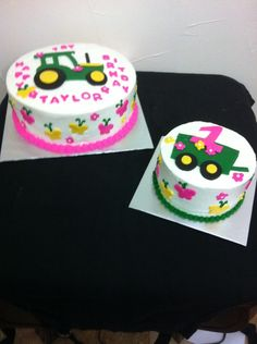 Pink John Deere for a little girl and her smash cake.