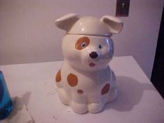 Vintage Spotted Puppy Cookie Jar made in USA by Treasure Craft
