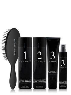 Verzorgingsset voor haarwerken en haarstukken van echt haar.  Inhoud - Argan Smooth Luxury Shampoo (250ml) - Argan Smooth Luxury Conditioner (250ml) - Blown Away Blow Dry Balm (188ml) - Argan Smooth Treatment Mist (59ml) - Paddle Brush Treatment, Conditioner, Jon Renau, Cleanse, The Balm, Hair Care, Shampoo, Hair Care Tips, Hair Makeup