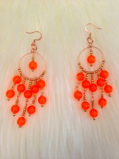 Modern Boho Chic Neon-Orange Earrings  by MyOwnLittleNiche on Etsy