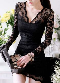 Gorgeous Long Sleeve V Neck Black Mini Dress