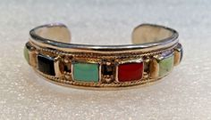 Beautifully Rare Sterling Silver Turquoise Coral Sugilite Onyx Cuff Bracelet