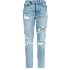 Grlfrnd Karolina Ripped Jeans (1.075 BRL) ❤ liked on Polyvore featuring jeans, pants, bottoms, trousers, destructed jeans, slim fit denim jeans, distressed jeans, blue denim jeans and slim fit blue jeans