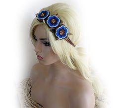 Headband jewelry hair crochet,blue flowers hair accessory Boho crochet headband, hair jewelry headband. Hair accessories bandage.
