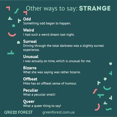 Other ways to say: Strange                                                                                                                                                                                 Mais