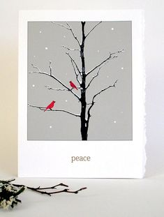 Chirstmas Peace Set Cardinal Bird Christmas Cards Holiday Card Holiday Card Set Set of 4 Painted Christmas Cards, Silver Christmas Decorations, Watercolor Christmas Cards, Diy Christmas Cards, Watercolor Cards, Xmas Cards, Christmas Art, Handmade Christmas, Holiday Cards