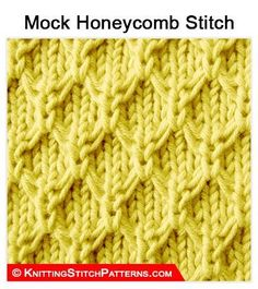 Knitting Stitch Patterns - Mock Honeycomb stitch - Using Slip Method