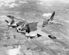 Mosquito B Mark IV Series 2, DZ313, in flight shortly before delivery to No. 105 Squadron RAF at Horsham St Faith, Norfolk, as 'GB-E'. Source