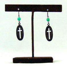 Oval Cut-Out Cross with Bead Earrings