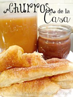Churros de la Casa on MyRecipeMagic.com #churros #chocolate #caramel #dip