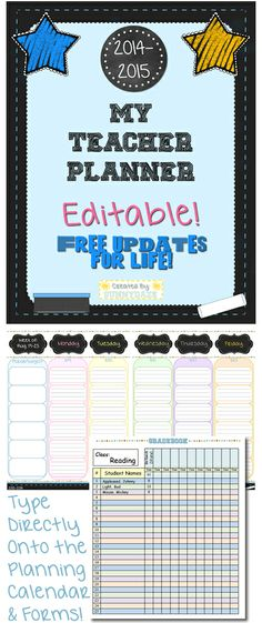 This is the last planner you will ever need! Cute & Editable... Text boxes are in place for you to type directly onto the calendar pages, notes pages, gradebook and forms. Includes a free new version every school year. $ #education