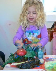 Print making for toddlers with everything from vegetables to bubble wrap