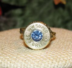 Winchester Western Super 303 British bullet casing ring with light sapphire swarovski rhinestone