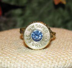 Winchester Western Super 303 British bullet casing ring with light sapphire swarovski rhinestone