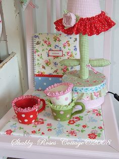 Cath Kidston book in background Homemade Crafts, Diy Crafts, Cath Kidston Vintage, Fabric Design, Pattern Design, Embroidery Hearts, Rose Cottage, Cottage Style, Handmade Lamps