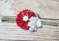 Precious Petite headband in Christmas Holiday fabric of silver, red and white with glitter snowflake center by SoTweetDesigns