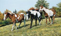 Colorful Hillside-Horse Painting; Brandt